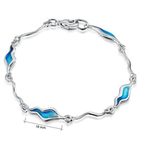 River Ripples Sterling Silver Bracelet in Tropical Enamel by Sheila Fleet Jewellery
