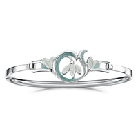 Snowdrop Sterling Silver Bangle in Leaf Enamel by Sheila Fleet Jewellery