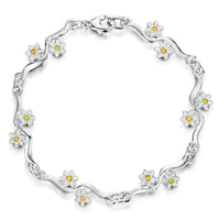 Daisies at Dawn 12-flower Enamel Bracelet by Sheila Fleet Jewellery