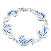 Pictish Seahorse Dress Bracelet in Sapphire Enamel by Sheila Fleet Jewellery
