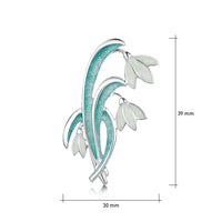 Snowdrop 3-leaf Sterling Silver Brooch in Leaf Enamel