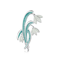 Snowdrop 3-leaf Sterling Silver Brooch in Leaf Enamel by Sheila Fleet Jewellery