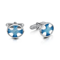 Cross of the Kirk Silver Cufflinks in Cool Slate Enamel by Sheila Fleet Jewellery