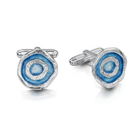 Brodgar Eye Enamelled Cufflinks in Sterling Silver by Sheila Fleet Jewellery