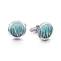 Runic Large Cufflinks in Storm Enamel by Sheila Fleet Jewellery