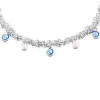 Skara Spiral Enamel Necklace with Pearls by Sheila Fleet Jewellery