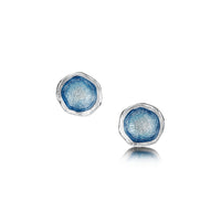 Lunar Sterling Silver Small Enamel Stud Earrings by Sheila Fleet Jewellery