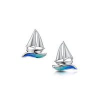 Orkney Yole Stud Earrings in Ocean Hue Enamel by Sheila Fleet Jewellery