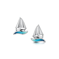 Orkney Yole Stud Earrings in Tempest Enamel by Sheila Fleet Jewellery