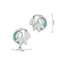 Snowdrop 2-flower Sterling Silver Stud Earrings in Leaf Enamel