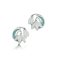 Snowdrop 2-flower Sterling Silver Stud Earrings in Leaf Enamel by Sheila Fleet Jewellery