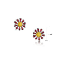 Coloured Daisies Stud Earrings in Hot Pink Enamel