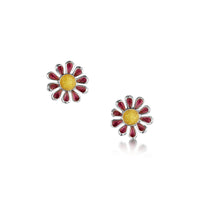 Coloured Daisies Stud Earrings in Hot Pink Enamel by Sheila Fleet Jewellery