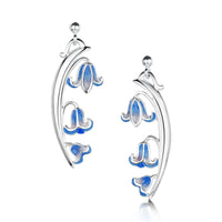 Bluebell 3-flower Enamel Drop Earrings in Sterling Silver by Sheila Fleet Jewellery