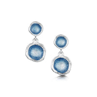 Lunar Sterling Silver Double Drop Enamel Earrings by Sheila Fleet Jewellery