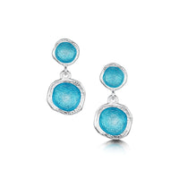Lunar Bright Double Drop Earrings in Tropical Enamel by Sheila Fleet Jewellery
