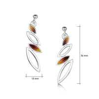 Seasons Silver 4-leaf Drop Earrings in Autumn Enamel by Sheila Fleet Jewellery