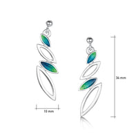 Seasons Silver 4-leaf Drop Earrings in Spring Enamel by Sheila Fleet Jewellery