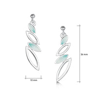 Seasons Silver 4-leaf Drop Earrings in Winter Enamel by Sheila Fleet Jewellery