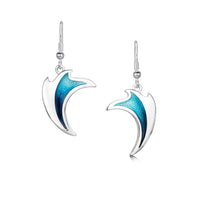 New Wave Silver Curve Drop Earrings in Peacock Enamel by Sheila Fleet Jewellery