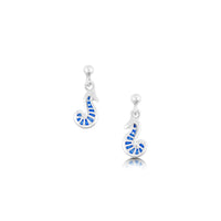 Pictish Seahorse Drop Earrings in Sapphire Enamel by Sheila Fleet Jewellery