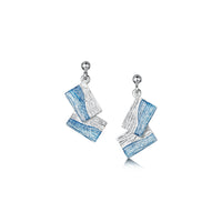 Flagstone Small Drop Earrings in Slate Enamel by Sheila Fleet Jewellery