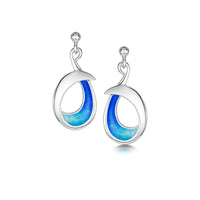 Sea & Surf Drop Earrings in Ocean Hue Enamel by Sheila Fleet Jewellery