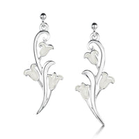 Bluebell Dress Drop Earrings in Whitebell Enamel by Sheila Fleet Jewellery