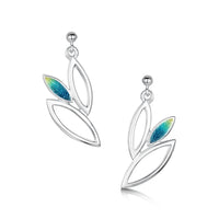 Seasons Silver 3-leaf Drop Earrings in Summer Enamel by Sheila Fleet Jewellery