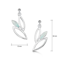 Seasons Silver 3-leaf Drop Earrings in Winter Enamel by Sheila Fleet Jewellery