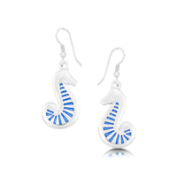 Pictish Seahorse Occasion Drop Earrings in Sapphire Enamel by Sheila Fleet Jewellery