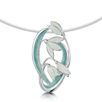 Snowdrop 4-flower Sterling Silver Necklace in Leaf Enamel by Sheila Fleet Jewellery