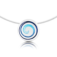 Surfbreaker Enamelled Dress Necklace in Sterling Silver by Sheila Fleet Jewellery