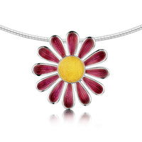 Coloured Daisies Dress Necklace in Hot Pink Enamel by Sheila Fleet Jewellery