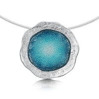 Lunar Sterling Silver Occasion Necklace in Lichen Enamel by Sheila Fleet Jewellery