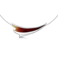 New Wave Curve Necklace in Flame Enamel by Sheila Fleet Jewellery