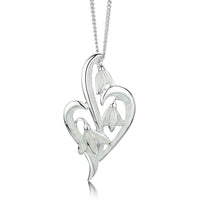 Snowdrop 3-leaf Sterling Silver Pendant in Crystal Enamel by Sheila Fleet Jewellery