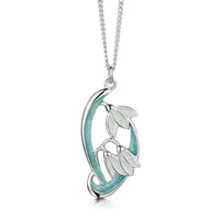 Snowdrop 3-flower Sterling Silver Pendant in Leaf Enamel by Sheila Fleet Jewellery