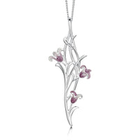 Bluebell 3-flower Pendant Necklace in Pinkbell Enamel by Sheila Fleet Jewellery