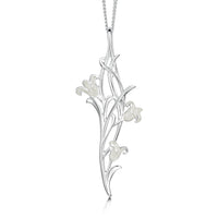 Bluebell 3-flower Pendant Necklace in Whitebell Enamel by Sheila Fleet Jewellery