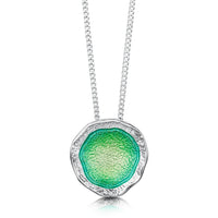 Lunar Bright Pendant Necklace in Spring Green Enamel by Sheila Fleet Jewellery