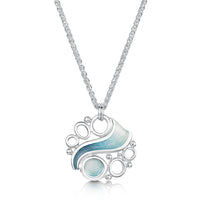 Arctic Stream Pendant in Arctic Blue Enamel by Sheila Fleet Jewellery