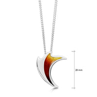 New Wave Silver Curve Pendant in Flame Enamel