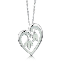 Snowdrop Sterling Silver Heart Pendant in Crystal Enamel by Sheila Fleet Jewellery