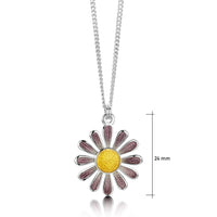 Coloured Daisies Small Pendant in Champagne Enamel