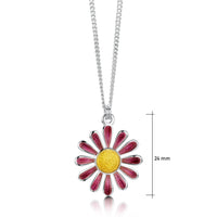Coloured Daisies Small Pendant in Hot Pink Enamel