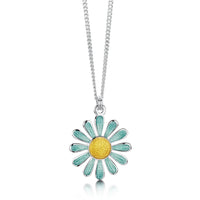 Coloured Daisies Small Pendant in Surf Enamel by Sheila Fleet Jewellery