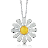 Daisies at Dawn Enamel Dress Pendant in Sterling Silver by Sheila Fleet Jewellery