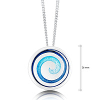 Surfbreaker Enamel Occasion Pendant in Sterling Silver by Sheila Fleet Jewellery