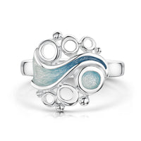 Arctic Stream Ring in Arctic Blue Enamel by Sheila Fleet Jewellery